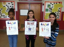 Family Night 2013 Poster winners  HBW students Busra Anil, Kayla Golebieski, and Jasmine Mickens